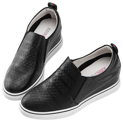 Robinlo & Co.簡約圖騰壓紋牛皮內增高休閒鞋 黑