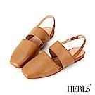 HERLS 舒服氣息 全真皮橫帶鏤空小方頭涼鞋-棕色