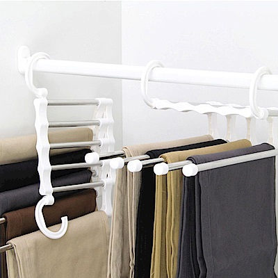 【收納皇后】多功能褲子收納衣架_白色/綠色 (2入組/同色)