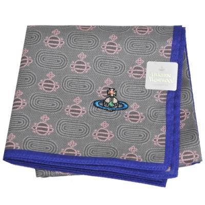 VIVIENNE WESTWOOD 繽紛行星圖騰LOGO彩色刺繡帕領巾(灰/藍邊)