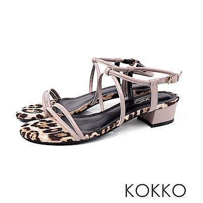 KOKKO - 女神降臨細帶真皮低跟涼鞋 -  豹紋裸