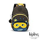 Kipling 低調深褐軍綠猴臉兒童雙肩包-DONAE