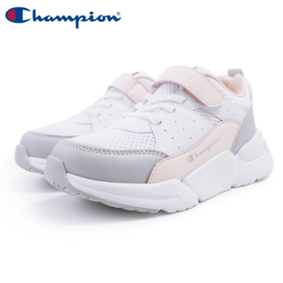 【Champion】RIPPLE 運動童鞋 透氣網布 大童鞋-白/粉(KSUS-0362-05)