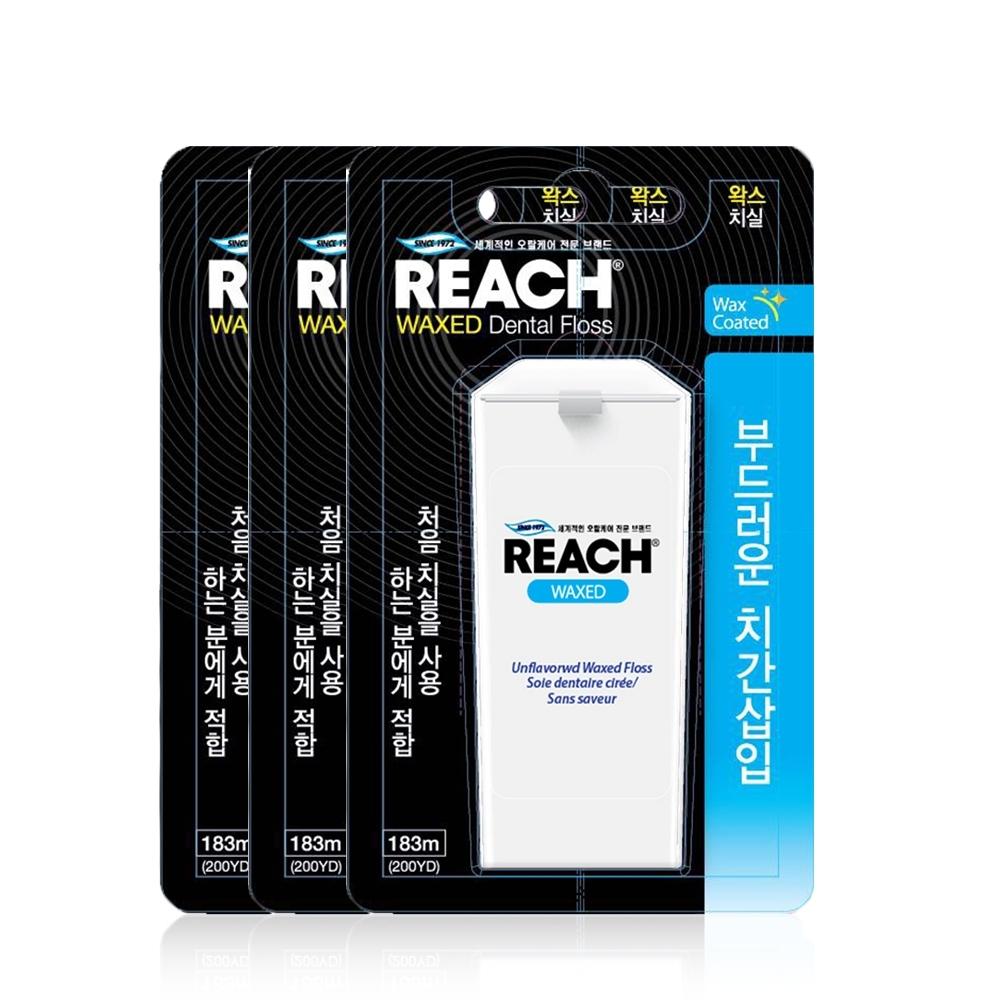 REACH麗奇 潔牙線含蠟無味重裝組(183M*3)