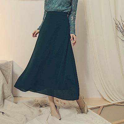 純色壓褶飄逸大圓裙-OB大尺碼