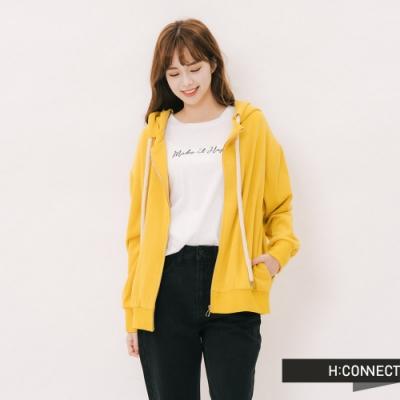 H:CONNECT 韓國品牌 女裝-後印字連帽休閒外套-黃