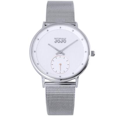 NATURALLY JOJO 簡約魅力米蘭帶手錶-銀/41mm