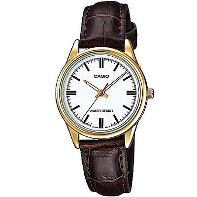 CASIO 經典復古輕巧指針腕錶-白色X金框(LTP-V005GL-7A)/30mm