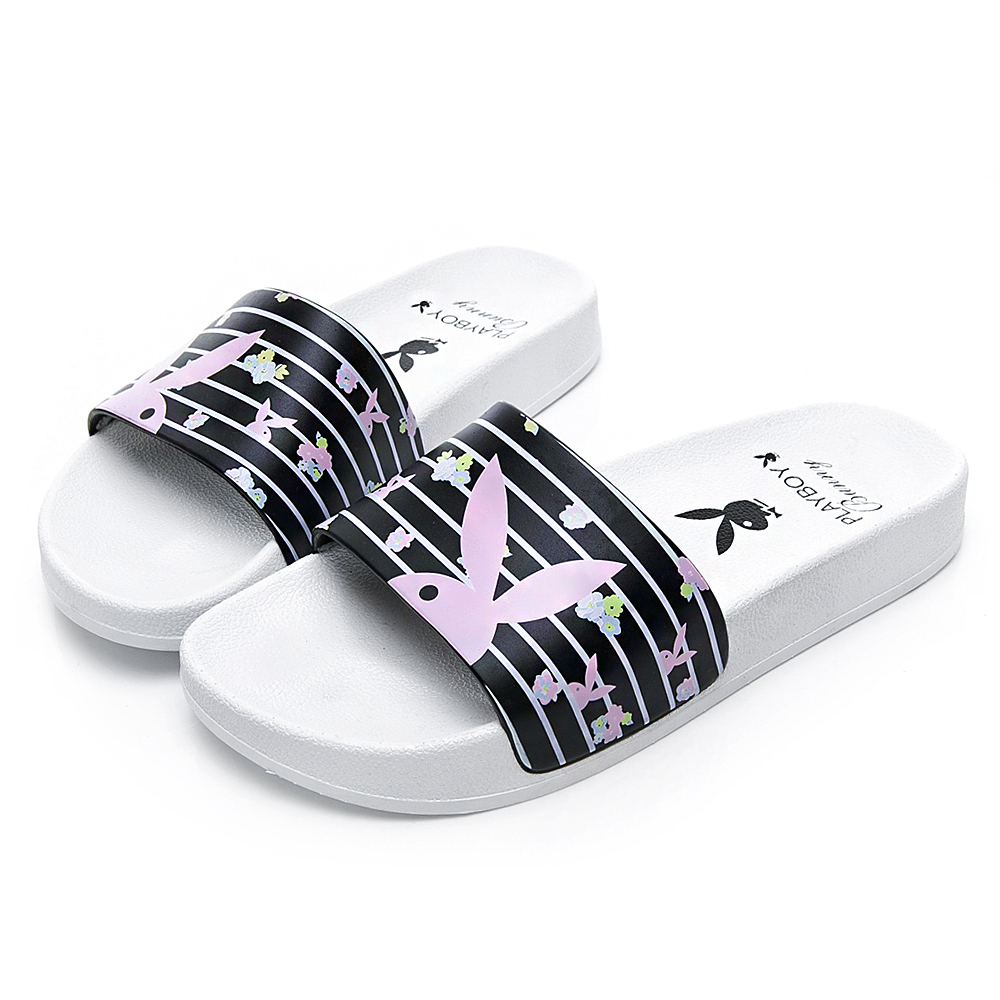 PLAYBOY 花卉繽紛橫紋休閒拖鞋-白黑-YT5051C