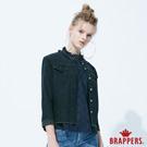 BRAPPERS 女款 不收邊彈性短版牛仔外套-黑