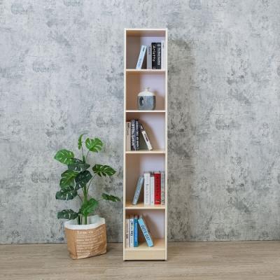 Birdie南亞塑鋼-1.2尺開放式5格書櫃/五格隙縫收納櫃/展示櫃/置物櫃(白橡色)-37.1x31x200cm