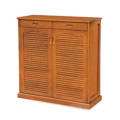 綠活居 邁丹時尚3尺木紋百葉鞋櫃/玄關櫃-90x35x102cm-免組