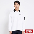 EDWIN 太空袖口袋 長袖POLO衫-男-白色