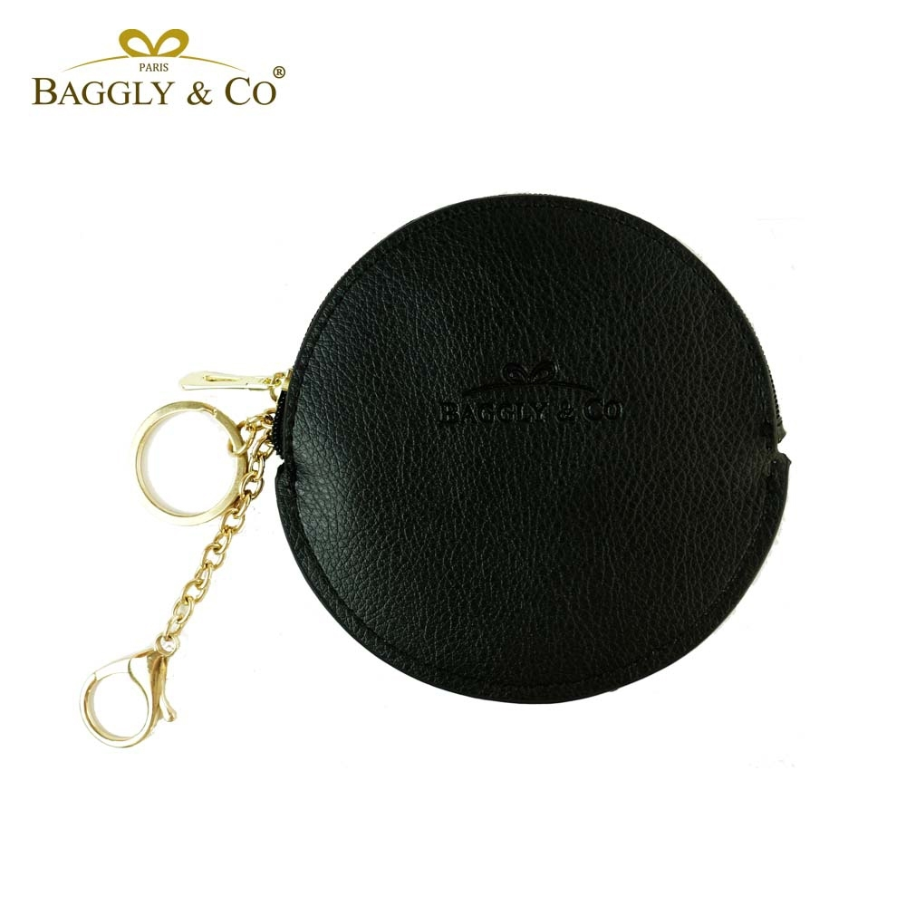 【BAGGLY&CO】精品質感皮革拉鍊圓形零錢包(黑色) product image 1