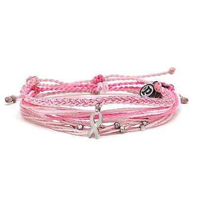 Pura Vida 美國手工 粉紅絲帶守護組 蠟線衝浪手鍊手環