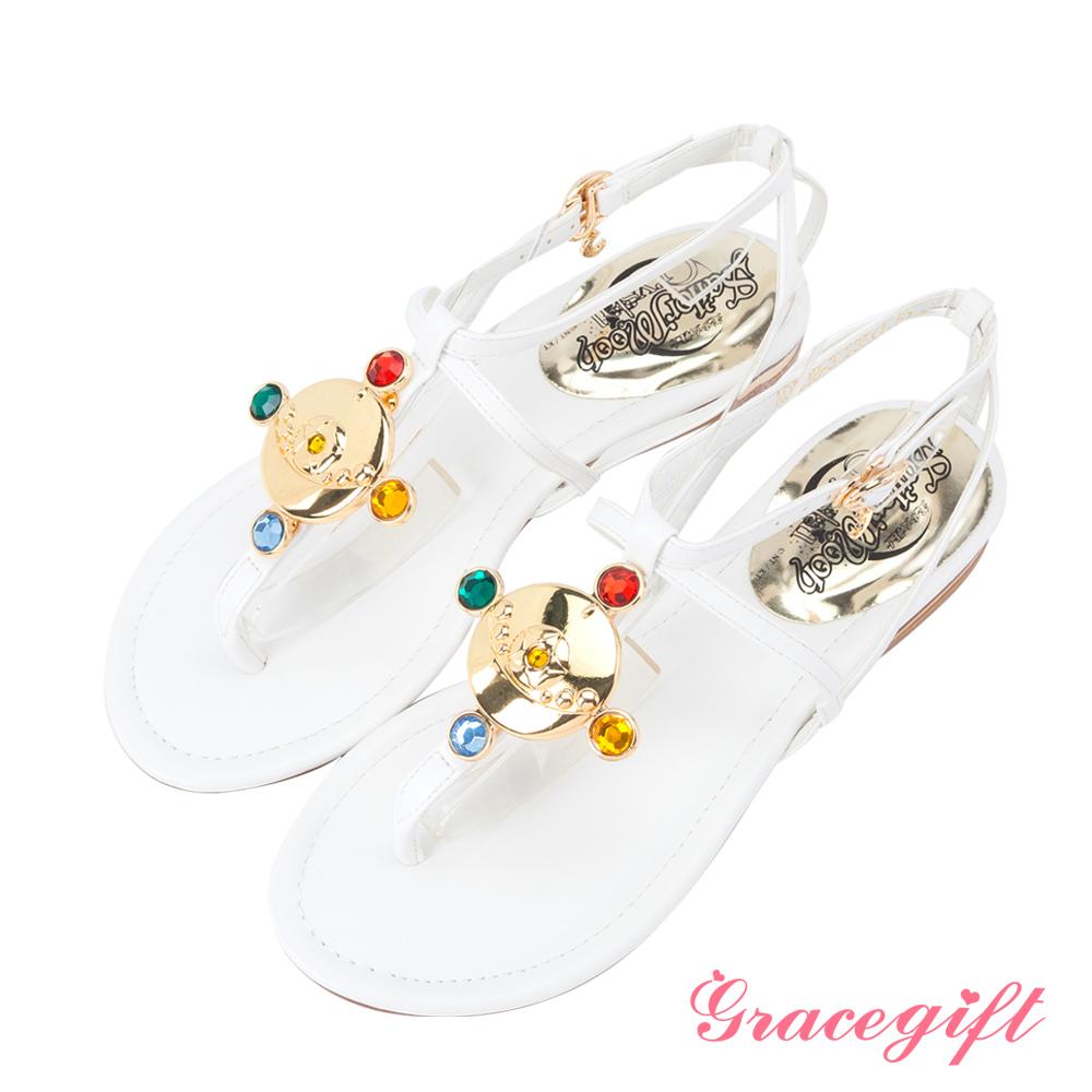 Grace gift-美少女戰士寶石變身器後交叉涼鞋 白