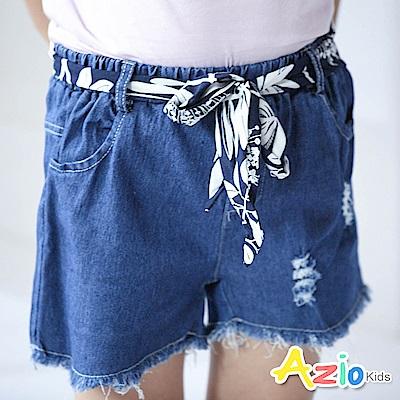 Azio Kids 短褲 花草印花腰帶抽鬚抓破鬆牛仔短褲(藍)