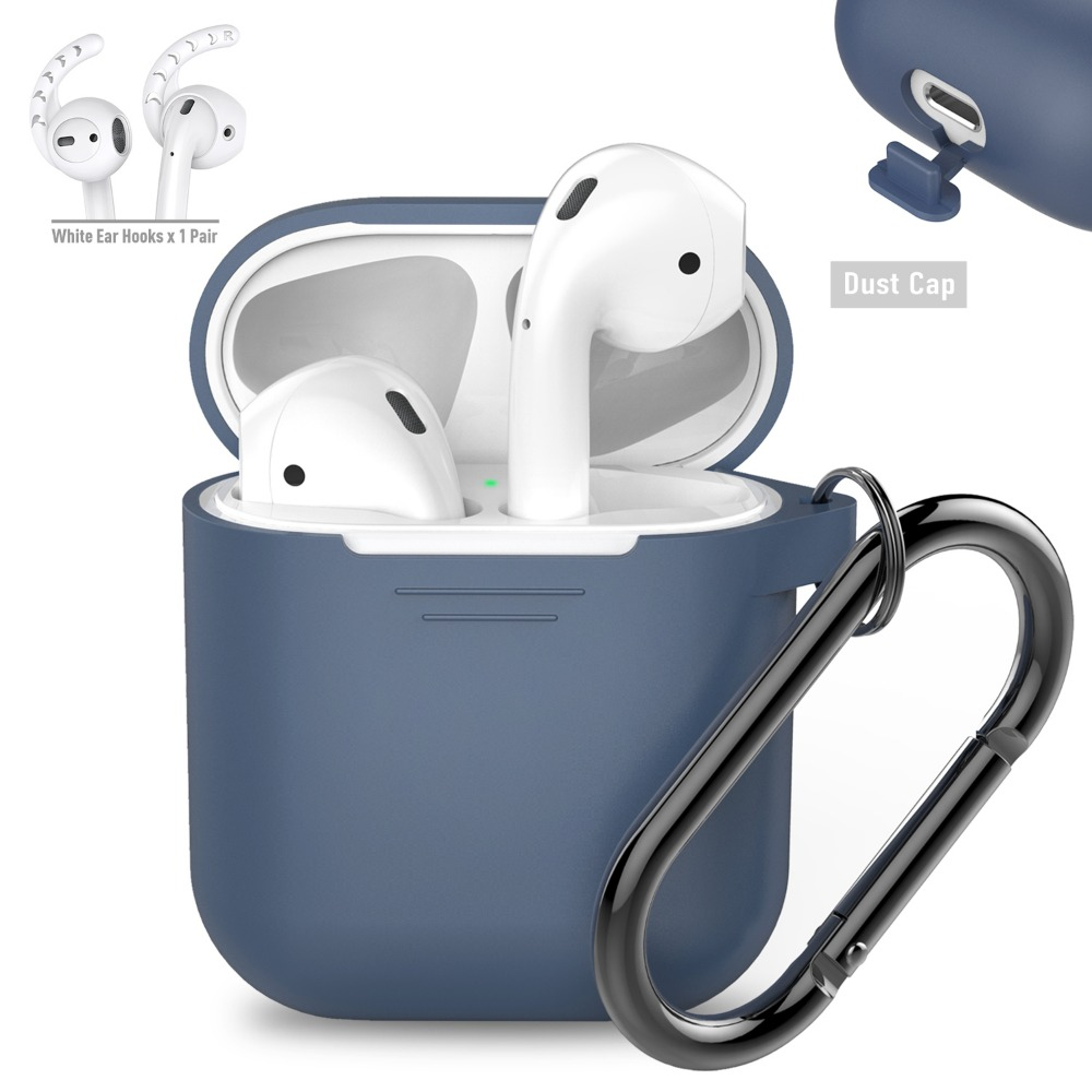 AHAStyle PodFit 2.0 - AirPods 專用矽膠掛鉤款保護套 深藍色