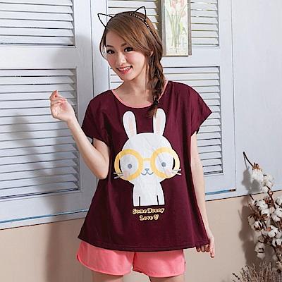 睡衣 彈性棉質短袖兩件式睡衣(C01-100555眼鏡大白兔) Young Curves