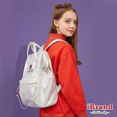 iBrand後背包 少女玫瑰花夢微亮片大開口後背包-銀色