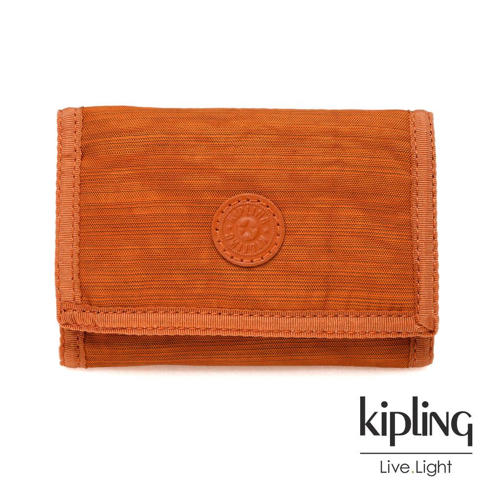 Kipling 焦糖拿鐵色素面多夾層短夾-MICKYLINA