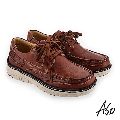 A.S.O 超能耐二代 柔軟精緻皮質休閒鞋 茶