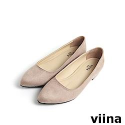 viina Basic 素面絨布跟鞋 - 粉