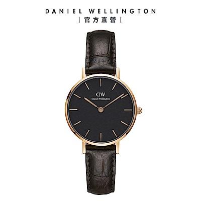 【Daniel Wellington】官方直營 Petite York 28mm黑棕真皮壓紋錶 絕版品 DW手錶