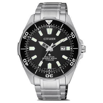 CITIZEN 光動能鈦金屬冒險極致潛水腕錶-銀X黑(BN0200-81E)-41mm