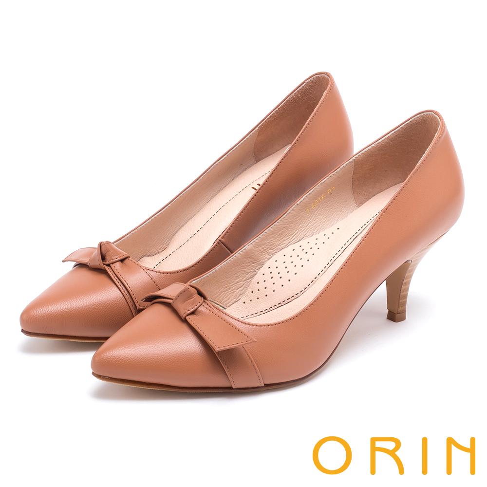 ORIN 典雅時尚女人 全真皮蝴蝶結尖頭高跟鞋-棕色