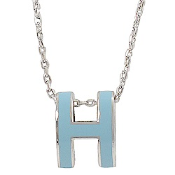 HERMES H POP款LOGO圓弧型項鍊(水藍/銀)