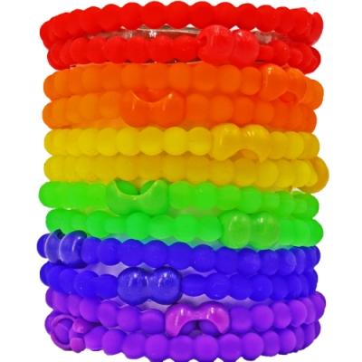 Pro Hair Tie 扣環髮圈10件組-彩虹派對