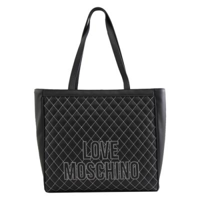 MOSCHINO LOVE系列電繡LOGO菱格托特包(黑)