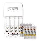 VXTRA新經濟型2A大電流急速充電器+VXTRA 4號700mAh充電電池(8顆)