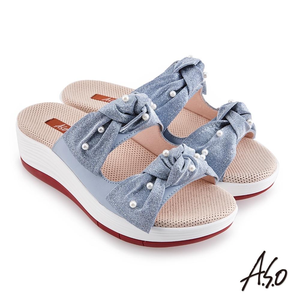 A.S.O 時尚流行 輕穩健康鞋金蔥布料條帶拖鞋-淺藍