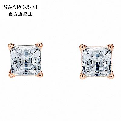 SWAROVSKI 施華洛世奇 Attract 玫金色方形璀璨寶石穿孔耳環