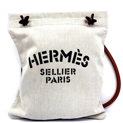HERMES 經典ALINE HERMES字母LOGO帆布肩背包(米白X黑)