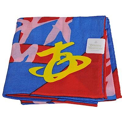 VIVIENNE WESTWOOD 幾何繽紛圖騰大行星LOGO帕領巾(紅/寶藍系)