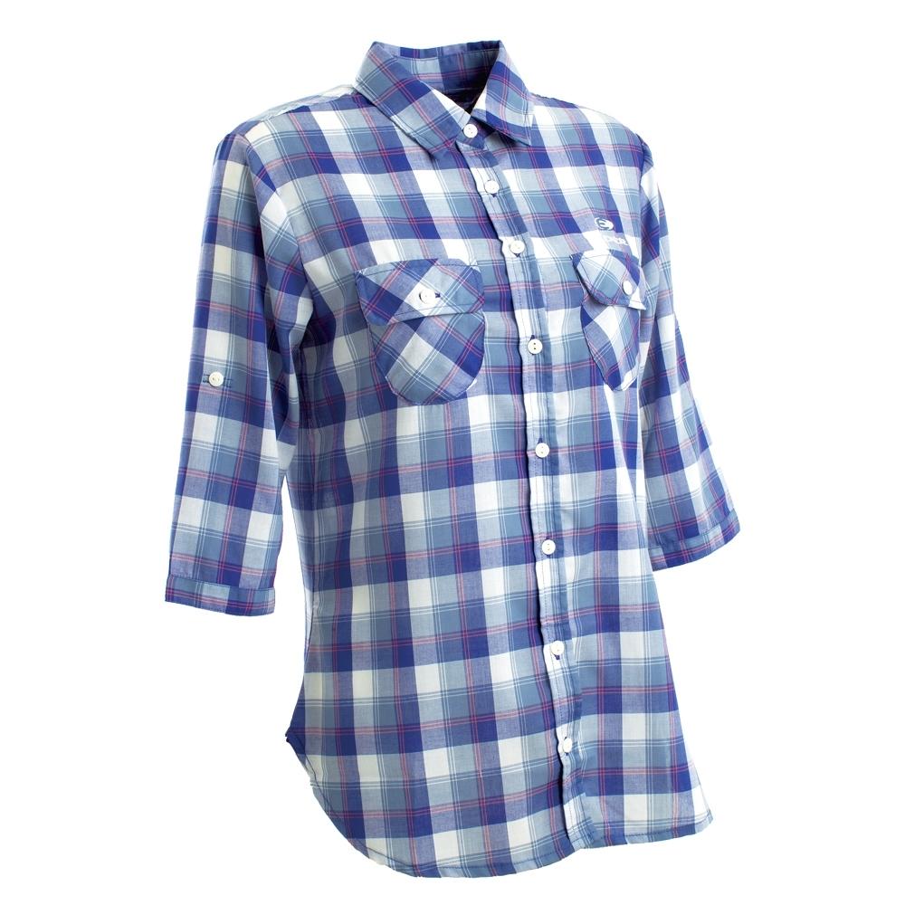 法國【EiDER】女排汗透氣抗UV七分袖襯衫/ EIT2672紫藍格