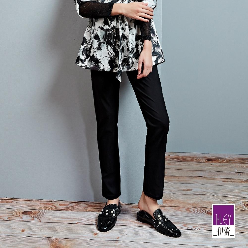 ILEY伊蕾 高彈舒適縲縈彈力直筒褲(黑/藍)