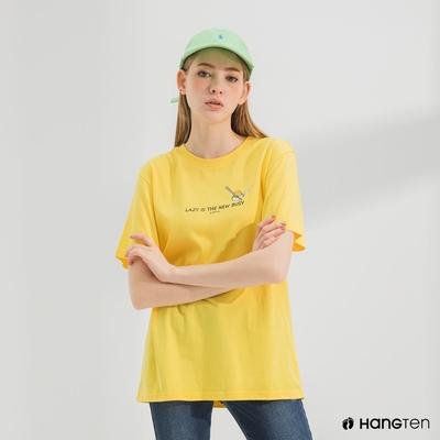 Hang Ten-中性款-Sanrio標語印花短袖T恤-黃色