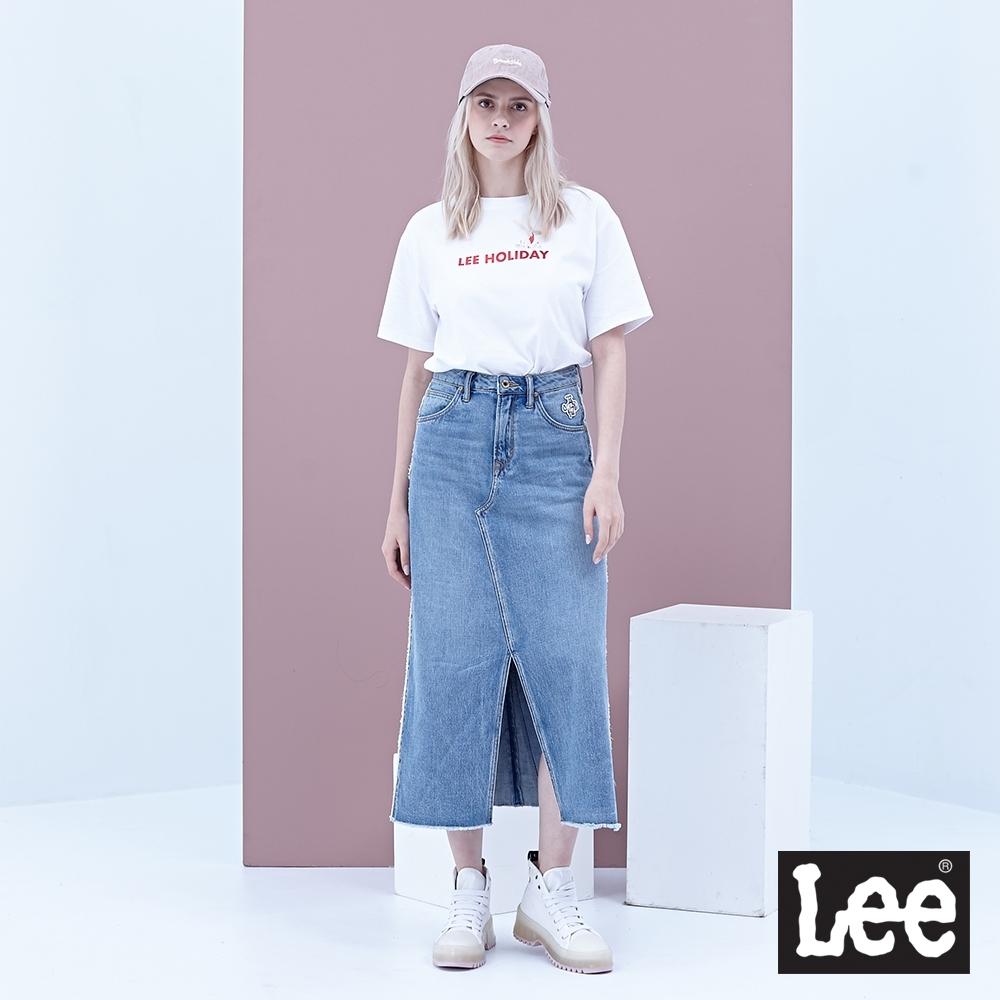 Lee 牛仔裙 中高腰緊身直筒長裙 女 中淺藍 可愛口袋設計