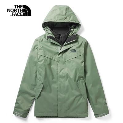 The North Face北面男款綠色防水透氣戶外三合一外套 46JL4NX