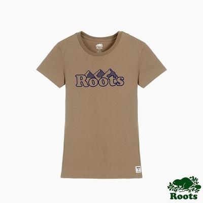 Roots女裝-曠野探索系列  加拿大三姊妹峰短袖T恤-土黃色
