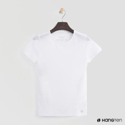 Hang Ten - 女裝-ThermoContro-純色拼接造型短袖上衣-白