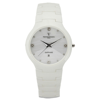 Valentino Coupeau 范倫鐵諾 古柏 晶鑽陶瓷腕錶 白陶