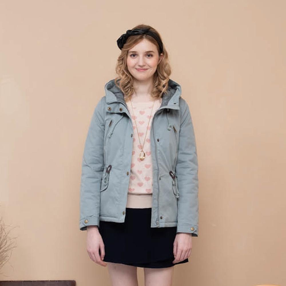 【CUMAR】連帽縮腰鋪棉短版外套-女長袖外套(三色/版型適中)