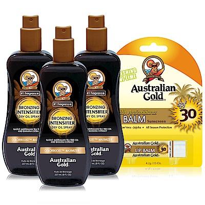 Australian Gold 金色澳洲 強效黝黑助曬油X3贈防曬護唇膏SPF30