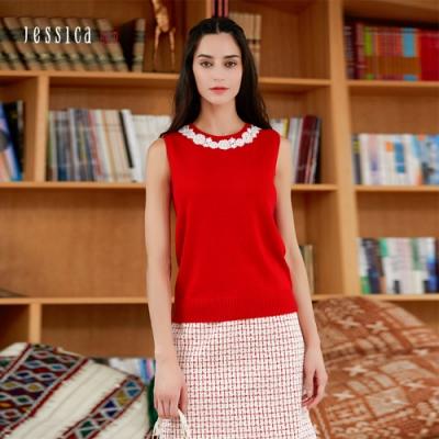 JESSICA RED - 親膚透氣舒適百搭優雅無袖針織背心(紅色)