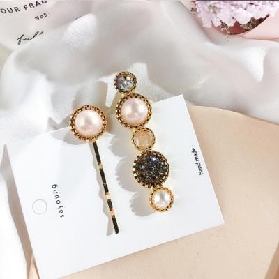 Hera 赫拉 韓版高質感水晶鈕扣碎鑽髮夾2件組-2款